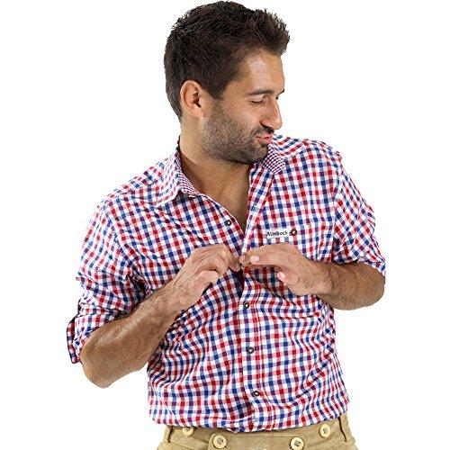 ALMBOCK Trachtenhemd Herren kariert | Slim-fit Männer Hemd mehrfarbig rot-blau-weiss kariert | Karo Hemd aus 100% Baumwolle in den Größen S-XXXL (Männer-hemd Royal Blau)