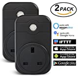 Wi-Fi Smart Plug, EMISH 2 Packs Wireless Remote Control Plug Timer Works with Amazon Alexa Echo Google Assistant and IFTTT, Wireless Remote Switch Socket Voice Control your Smart Home Devices (Back)