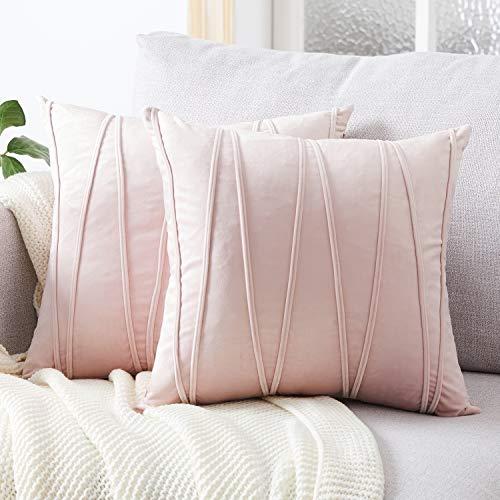 Top Finel Juegos 2 Hogar Cojín Terciopelo Suave Decorativa Almohadas Fundas de Color Sólido para Sala de Estar sofás 40x40cm Rosa