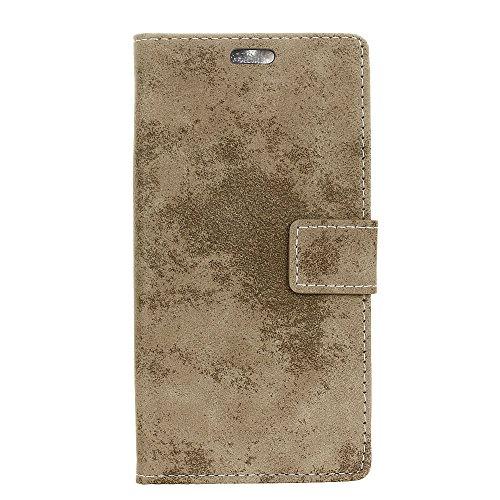 BasicStock Meizu Pro 6 Plus Leder Hülle, Premium PU Ledertasche etui Schutzhülle Tasche mit Ständer Slim Flip Case für Meizu Pro 6 Plus(Khaki)