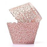 ROSENICE 50 Stück Lasergeschnittenes Cupcake Verpackungen für Hochzeit Geburtstag Party Baby Dusche Dekoration (Rosa)