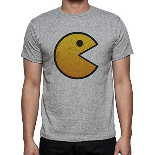 Pack Man Yellow Game Nintendo Orange Herren T-Shirt Grau