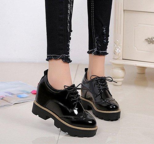 Clássicos Anti derrapante Pretos Solas E Baixas Brogues Lace Grossas Leves Translúcidas Respirável Planas Sapatos Senhoras Com Up wq0vYUxRg