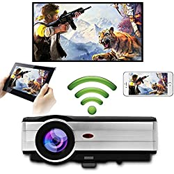 Full HD 1080P Proyector LED inalámbrico HD WiFi WiFi LCD Android Proyector de Cine en casa HDMI USB VGA AV Audio WXGA 1280X800 Nativo para iOS Smartphone iPhone iPad Tableta portátil DVD TV Caja Xbox