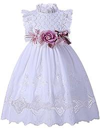 Lajinirr Niñas Flawer Cordón Dobladillo Vestir Princesa Fiesta Boda Vestidos con Venda ...