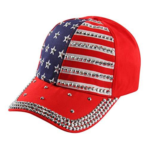 FENICAL Patriotische Baseballmütze Amerikanische Flagge Baseballmütze Baseballmütze Schirmmütze für Frauen Männer (Rot) (4. Juli Baseball-hüte)