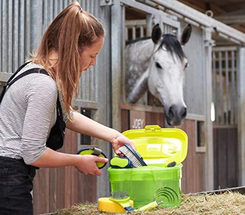 Adozen Pferde-Putzbox mit Inhalt für Kinder und Erwachsene | 9-Teilig befüllt | Soft Touch Antirutschgriffe | Limette-Grün-Gelb - 6