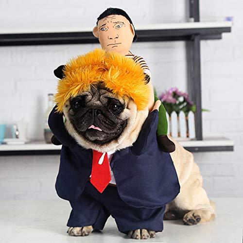 Hunde Stehend Kostüm - Hundekleidung Niedliches Kleines Hundekleidungs-Hund Halloween Kleidung Lustig Zurück Mann Gelb Haar Kamel Stehend Ändern Kleid Weihnachten Hund Kostüm Party Kleid,M