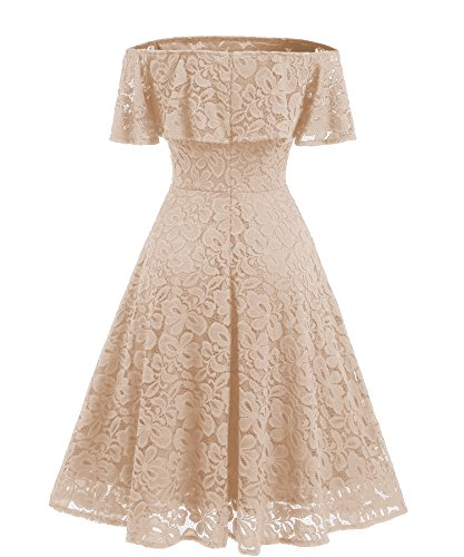 Gigileer Women's Floral Lace A Line Off Shoulder Short Sleeve Cocktail Party Swing Dress Beige L