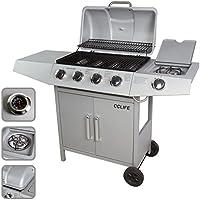 CCLIFE BBQ Barbecue griglia a gas con 3/4/5/6 bruciatori principali e uno bruciatore laterale del color argento o nero, Colore:Argento, Dimensione:4+1 Bruciatore