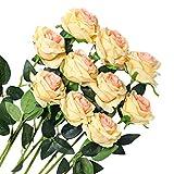 Veryhome 10 Pezzi Fiori Artificiali Rose di Seta Falso Bouquet da Sposa da Sposa per la casa Giardino Partito Decorazioni Floreali (Champagne, Rose in Fiore)