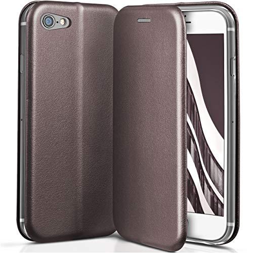 ONEFLOW Apple iPhone 7/8   Hülle Anthrazit-Grau mit Karten-Fach 360° Business Klapp-Hülle Handytasche Kunst-Leder Handyhülle für iPhone 7/8 Flip Case Cover Tasche Schutzhülle