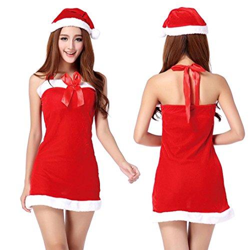 kleid mit Mütze für Damen und Mädchen, rot, figurbetont, Santa-Claus-Outfit für Xmas, Party, Club oder als Cosplay-Kostüm, von janly®, C, Free Size (Damen Sexy Santa Outfit)