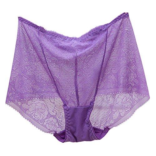 Zhhlaixing Fashion Atmungsaktive Dessous High Waist Transparent Womens Underwear Hollow Underpants Light Purple