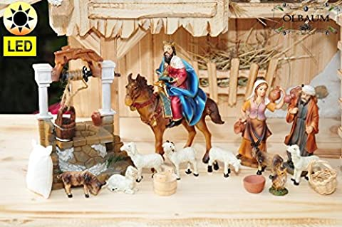 Krippenfiguren Krippenzubehör - Zusatz-Beleuchtung* Station 5+6-2: Passionskrippe Passionsfiguren, 17-tlg. Set KOMPLETT mit LED-BELEUCHTUNG, Brave Bürger beobachten das Treiben nach Golgota und helfen Jesus, zu Mt 27,32- Passion Christi - für 9-10 cm Figuren, Figur-Krippenfiguren für Passionskrippe und Weihnachtskrippe - hochwertige ÖLBAUM-Passionsfiguren: 40 einzigartige Stationen, Fastenzeit von Aschermittwoch bis Ostern Deko, Auferstehung Jesus von