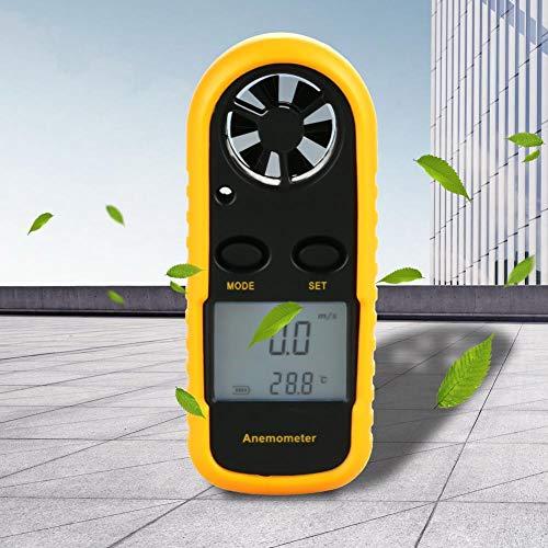 Boquite Digitaler Anemometer Handheld, tragbarer digitaler Anemometer Windgeschwindigkeitsmesser Luftströmungsgeschwindigkeit Temperaturmesser Thermomete