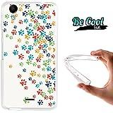 Becool® Fun - Funda Gel Flexible para Wiko Rainbow Up, Carcasa TPU fabricada con la mejor Silicona, protege y se adapta a la perfección a tu Smartphone y con nuestro exclusivo diseño. Huellas coloridas de Perro