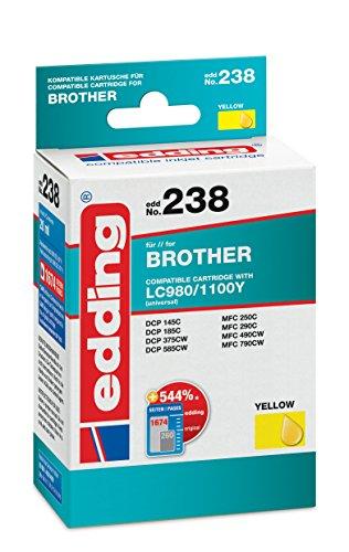 edding 18-238 Druckerpatrone EDD-238, Ersetzt: Brother LC980Y/LC1100Y, Einzelpatrone, gelb