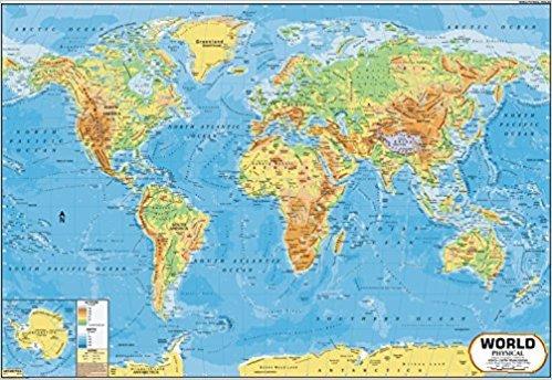 World Map - Physical (100 x 70 cm)