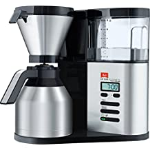 Melitta Aroma Elegance Therm DeLuxe, 1012-06, Filter Coffee Machine with Insulated Jug, Timer Feature, Black/Brushed Steel