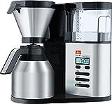 Melitta AromaElegance DeLuxe 1012-06, Filterkaffeemaschine mit Thermkanne, Aroma Control, Timer-Funktion, Schwarz/Edelstahl