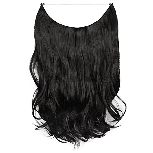 FESHFEN Haarverlängerung, 51 cm, , H01 - 1B Off Black (Conditioner Halo Shampoo)