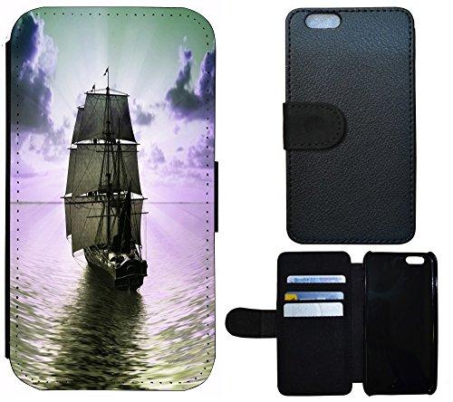 Flip Cover Schutz Hülle Handy Tasche Etui Case für (Apple iPhone 4 / 4s, 1217 Strand Urlaub Muscheln Braun Blau) 1223 Segelschiff Schiff Meer