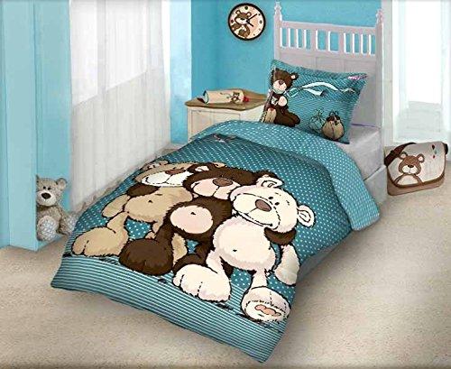 Maxi & Mini-NICI biancheria da letto parure copripiumino 160x 200+ federa 70x 80Déco l' orso 100% cotone
