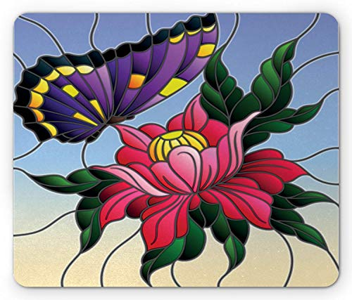 SHAQ Aster Mouse Pad Mauspads, Stained Glass Pattern with Butterfly and a Flower Mosaic Garden Art Illustration, Standard Size Rectangle Non-Slip Rubber Mousepad, Multicolor - Butterfly Stained Glass