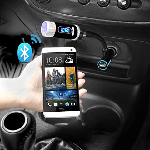 iKross Bluetooth FM Transmitter w/ Microphone A2DP Wireless Radio Car Kit Hands-free Calling and Charging Port Car Kit for for Apple, Samsung, LG, Motorola, Wileyfox, Huawei, Oppo, OnePlus, Sony Smartphone, Tablet and MP3 Player - Black