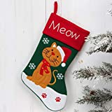 Home Living MEOW - CAT Christmas Stocking - Fun Cat Red and Green Fabric Christmas Cat Gift Stocking