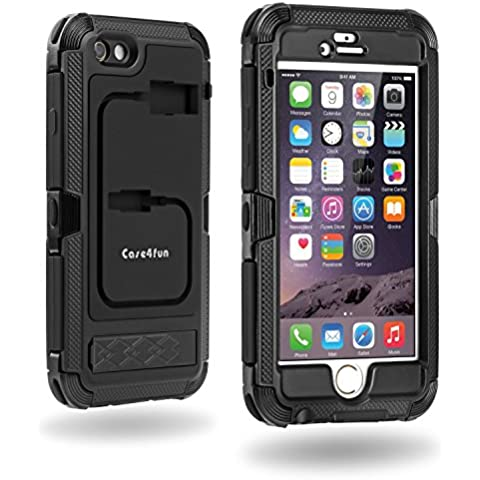 Custodia iPhone 6S, Case4fun Cover iPhone 6 [Pellicola Antigraffio Integrato], Robusta Doppio Strato Cover, Nero