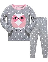Qzrnly Niña Pijamas Manga Larga De 2 Piezas para Ninas 100% De Algodon