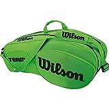 WILSON Team III 6 PK, Borsa da Tennis per Giocatori Esperti Unisex - Adulto, Verde/Nero, Taglia Unica