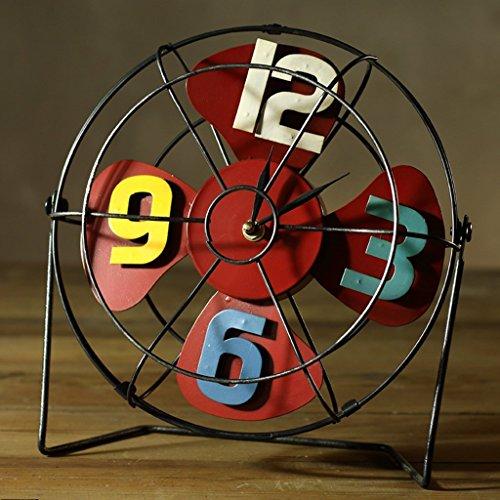 GAYY Drm Fan Clock Retro Eisen Ornamente Nostalgische Metall Handwerk American Coffee Shop Shop Bar Personalisierte Dekorationen (Gelb),Rot -
