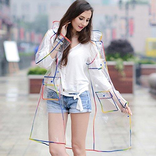 Transparente erwachsene Regenmantel weiblichen Code Stitching Hit Farbe Outdoor-Tourismus wasserdicht langen Absatz ( farbe : Schwarz ) Bunte