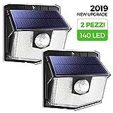 [2 Pezzi] 140 LED Luci Solari LED Esterno, Mpow Luce Solare Sensore con Movimento Esterna 3 Modalità di Illuminazione, Impermeabile IPX7, 270ºilluminare Lampada Solare per Giardino
