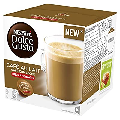 Nescafe Dolce Gusto Café Au lait Decaffeinated Coffee Pods, Pack of 3, Total 48 Capsules