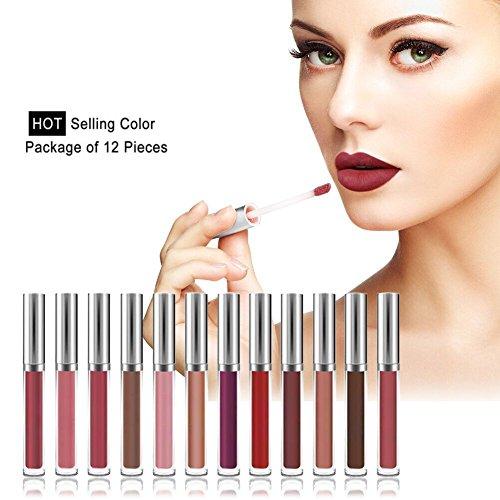 BOBORA Lippenstifte 12 Farben Lipgloss Lip Glaze Flüssig Lippenstift Set Kosmetik Lippenstift Set...