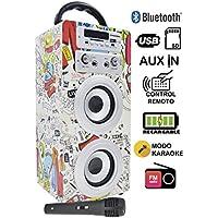 DYNASONIC Altavoz Bluetooth con Modo Karaoke10W, Reproductor mp3 inalámbrico Portátil, Lector USB SD,