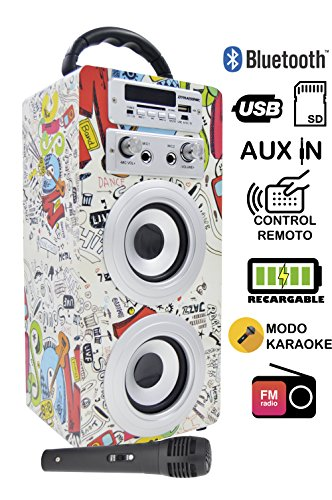 Altavoz Karaoke Bluetooth, DYNASONIC Reproductor mp3 inalámbrico portátil con micrófono, lector USB SD, Radio FM LINE IN 3.5mm control remoto, PC MAC iPhone Android Smartphones Tablets (Modelo 2)