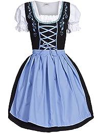 Dirndl 3 tlg.Trachtenkleid Kleid, Bluse, Schürze, Gr. 34-52 schwarz pink, blau, und grün