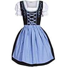 Dirndl 3 pezzi, vestito Dirndl, camicia, gonna, formato 34-46 nero / blu