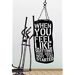 When you feel like quitting think about why you started - Crossfit Gym Fitness Motivation Quote wall vinyl decals stickers Art Decor DIY