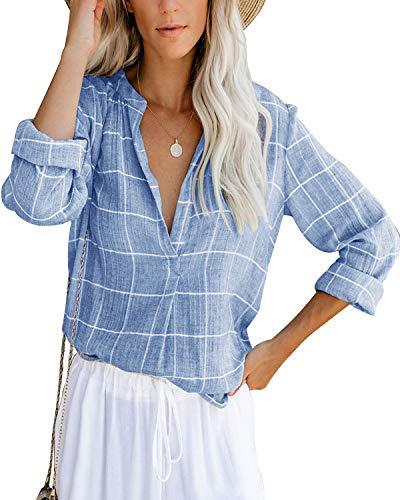 Damen Bluse Leinen Hemd Langarm Elegant Oberteil V-Ausschnitt Casual Tops Lose Langarmshirt Vintage Tunika Shirts(bl,l)