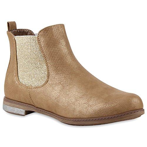 Stiefelparadies Damen Chelsea Boots Klassische Stiefeletten Glitzer Leder-Optik Schuhe Profilsohle Booties Knöchelhohe Stiefel Übergrößen Flandell Gold Metallic