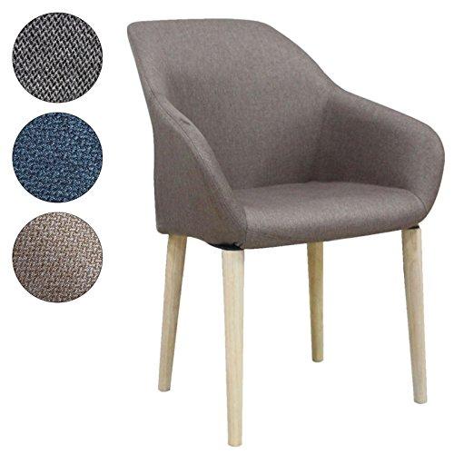 SVITA Polsterstuhl Stuhl Küchen-Stuhl Stoff Holz-Beine Retro Vintage Stil Esszimmerstuhl bequem (braun, S1)
