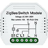ZigBee Smart Mini-schakelaar, 10 A, 220 V, functie met knop en RF-afstandsbediening, Tuya-app, compatibel met Amazon Alexa en