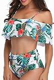 NUUR Femme Deux pièces Halter Bandage Push Up Brésilien Bikini Floral Print...