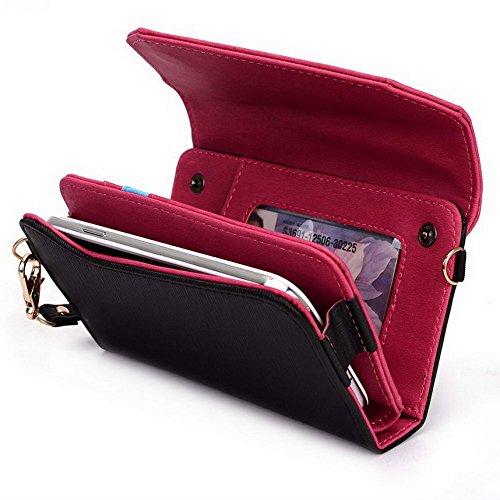 Kroo Pochette Portefeuille Link Series Mobile pour Allview P7Xtreme/Viper I V1 Multicolore - Black and Magenta Multicolore - Black and Magenta
